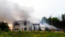 Fire, explosions in Nova Scotia town