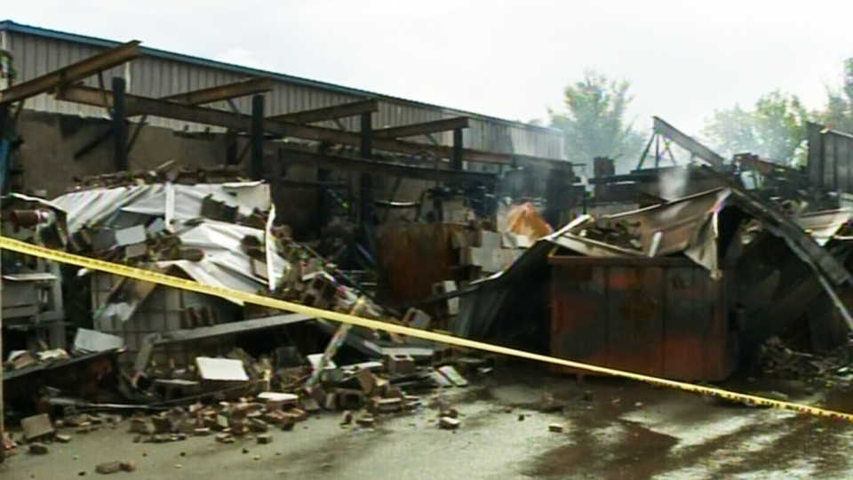 The aftermath of an explosion is shown at a machine shop in Stewiacke, N.S., Saturday, Aug. 31, 2013.