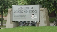 A note posted on the Mother Teresa website on Thursday said the 'school has been evacuated' to a nearby high school in the wake of an explosion on Thursday, May 26, 2011.