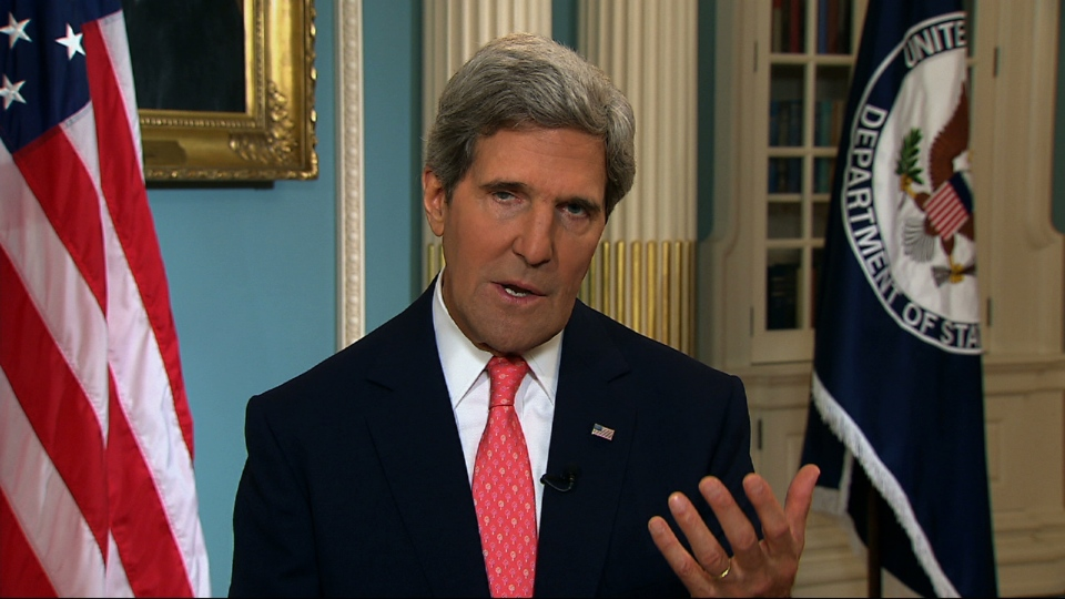 U.S. Secretary of State John Kerry speaks from the State Department in Washington Sunday, Sept. 1, 2013. (AP / APTN)