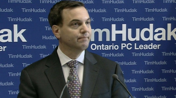 Ontario Progressive Conservative Leader Tim Hudak addresses media, Thursday, May 26, 2011.