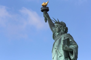 The Statue of Liberty stands against a clear sky on Thursday, July 4, 2013. (AP Photo/Mary Altaffer)