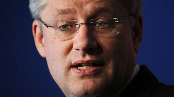Prime Minister Stephen Harper responds to question during a closing press conference following the G8 Summit in Deauville, France on Friday, May 27, 2011. (Sean Kilpatrick / THE CANADIAN PRESS)