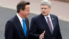 Prime Minister Stephen Harper speaks with British Prime Minister David Cameron on the way to a lunch at the G8 summit in Deauville, France, Friday, May 27, 2011. (AP / Charles Dharapak)