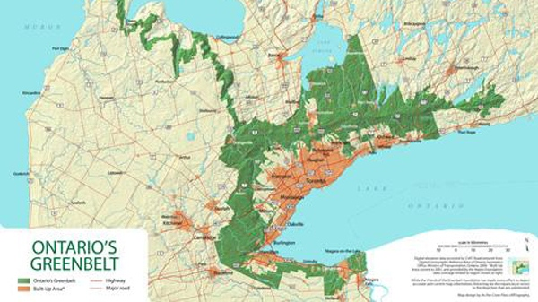 A map of Ontario's Greenbelt is taken from its website.