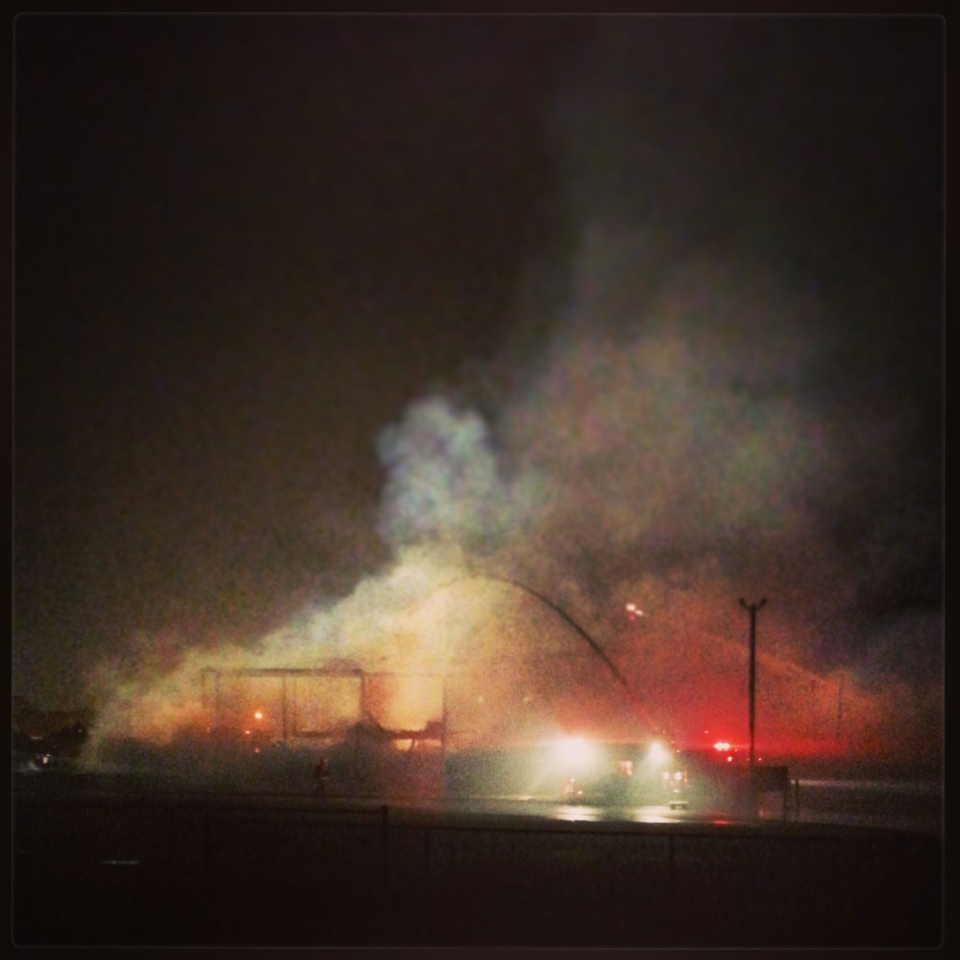 MyNews user Dave Morris sent in this photo of the St. Jacobs Market fire near Waterloo, Ont. on Monday, Sept. 2, 2013.