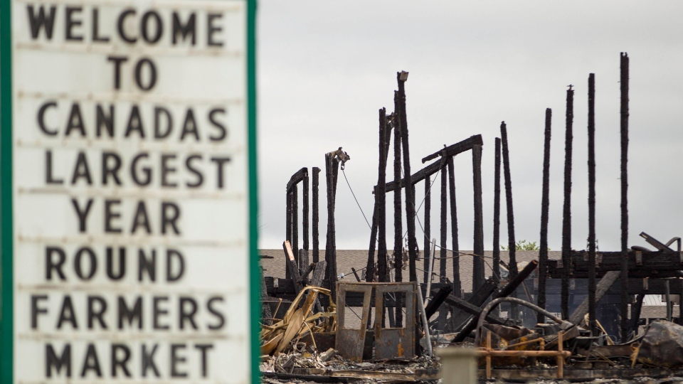 An overnight fire destroyed the main building at St. Jacobs Farmers Market near Waterloo, Ont., Monday, Sept. 2, 2013. (Geoff Robins / THE CANADIAN PRESS)
