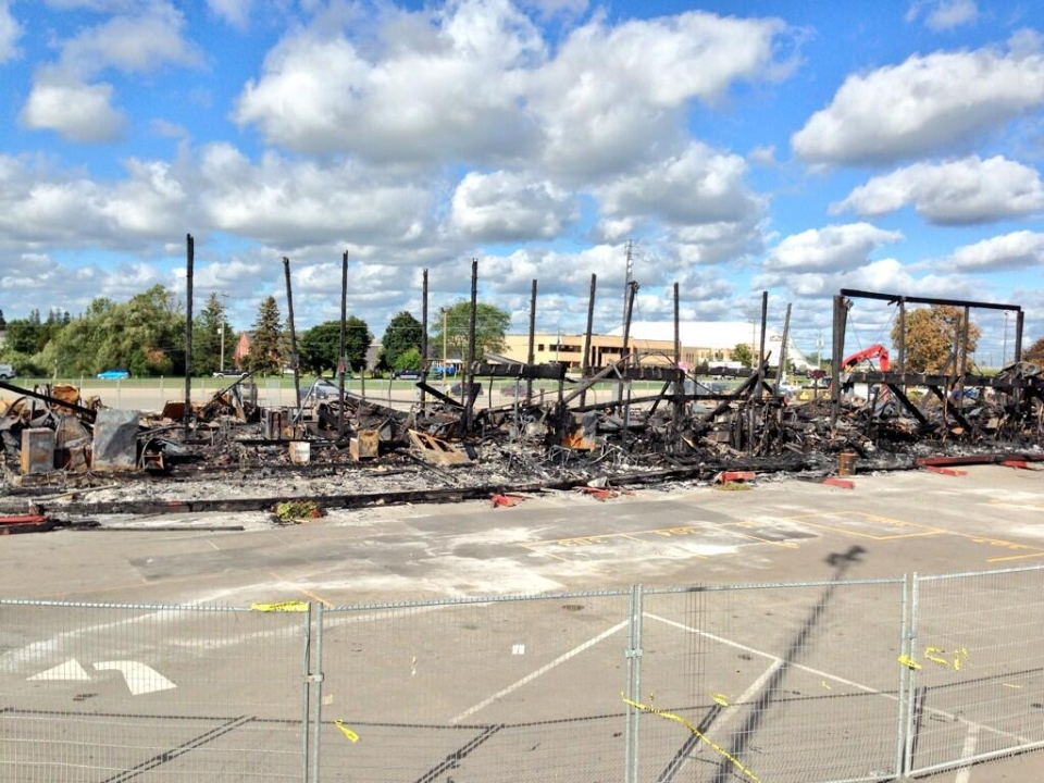 Nineteen polls remain in the ground where the main building of the St. Jacobs Farmers Market stood, as seen on Tuesday, Sept. 3, 2013. (Dan Lauckner / CTV Kitchener)