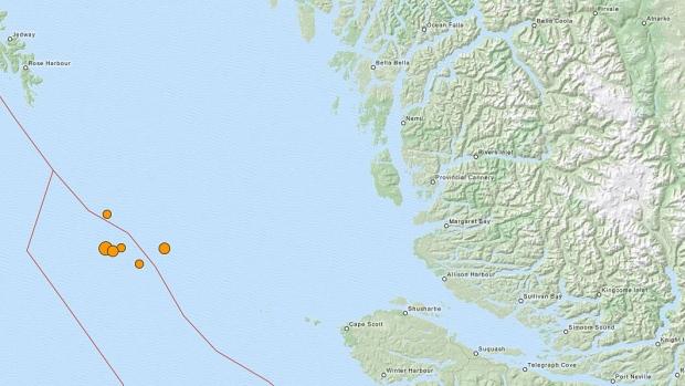 Earthquakes strike off B.C. coast