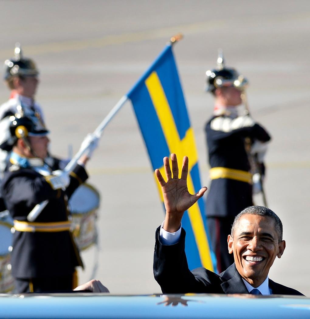 US President Barack Obama, Arlanda Airport, Sweden