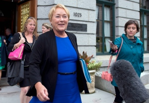 Quebec Premier Pauline Marois walks out of a cabinet meeting on Sept. 4, 2013 at the legislature in Quebec City. Marois was elected one year ago. (Jacques Boissinot / THE CANADIAN PRESS)