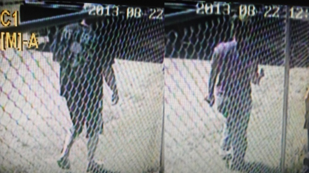 Two people suspected of taking a dog from the SPCA in Yorkton are seen in these images captured from surveillance video. (RCMP handout)