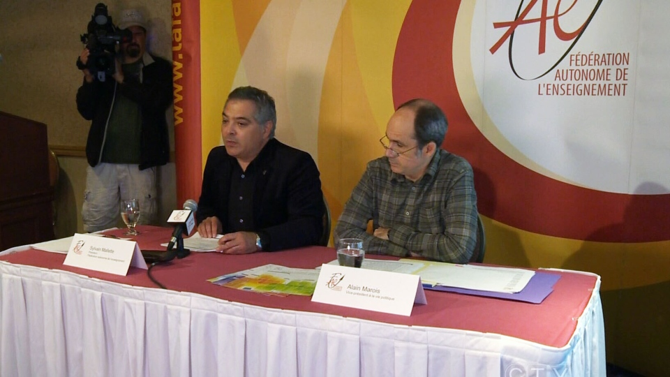 Federation autonome de l'enseignement said that the PQ is being hypocritical with its proposed Charter of Quebec Values, at a press conference in Quebec, Wednesday, Sept. 4, 2013.