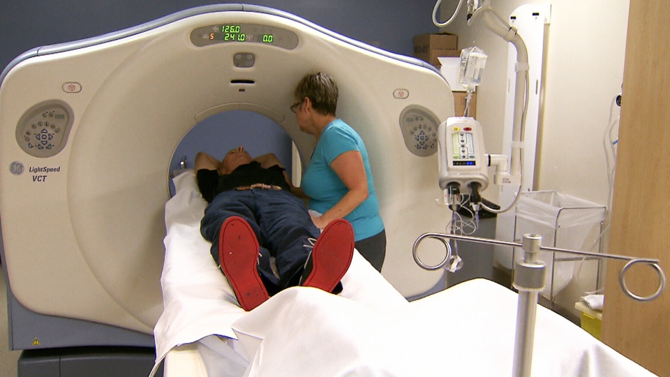 A man undergoes a CT scan to screen for lung cancer on Sept.4, 2013.