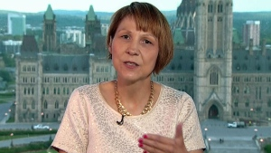 FILE - Cindy Blackstock of the First Nations Child and Family Caring Society appears on CTV's Canada AM, from Ottawa, on Thursday, Sept. 5, 2013.