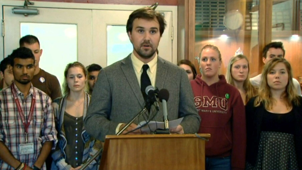 Jared Perry, Saint Mary's University Students' Association president, speaks during a press conference in Halifax, Thursday, Sept. 5, 2013.