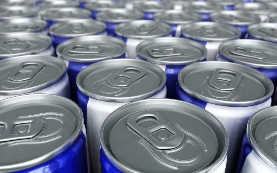 Energy drinks are pictured.