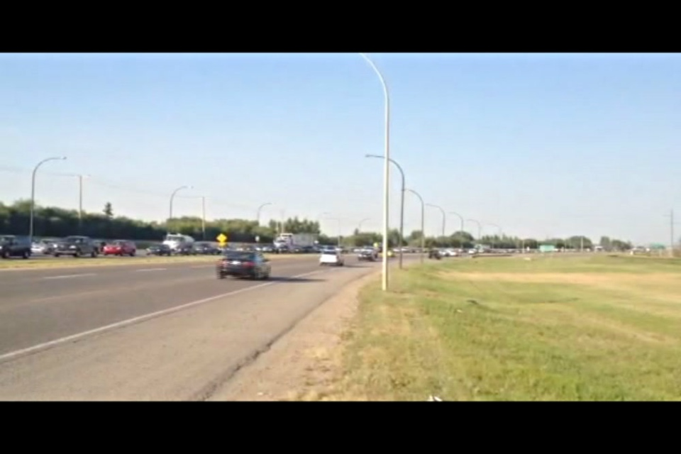Power outages across Saskatoon had traffic backed up. Here, Circle Drive near 33rd Street was very backed up after traffic lights went out around 5:00 p.m.