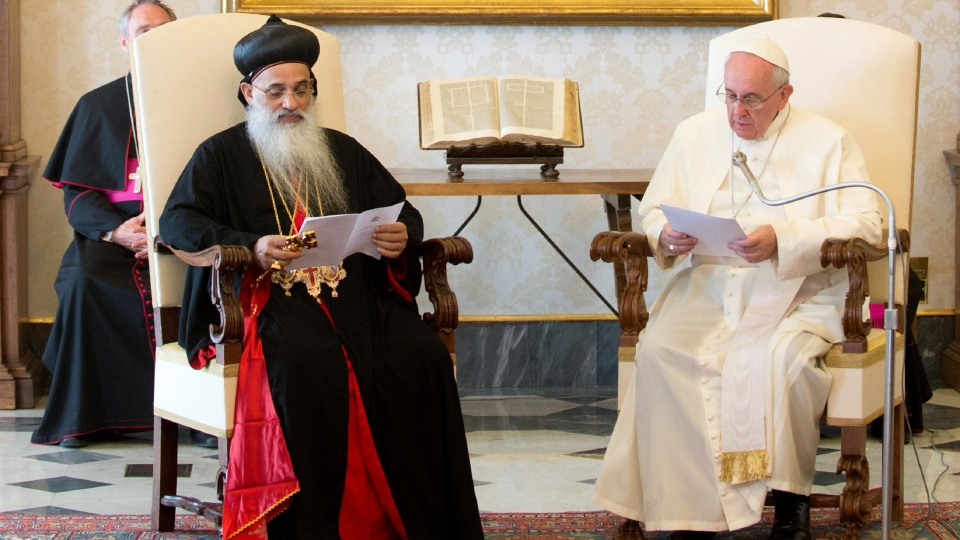 In this photo provided by the Vatican newspaper L'Osservatore Romano, Pope Francis, right, meets Moran Baselios Marthoma Paulose II, Catholicos of the Malankara Orthodox Syrian Church, India, during a private audience at the Vatican, Thursday, Sept. 5, 2013. (L'Osservatore Romano)
