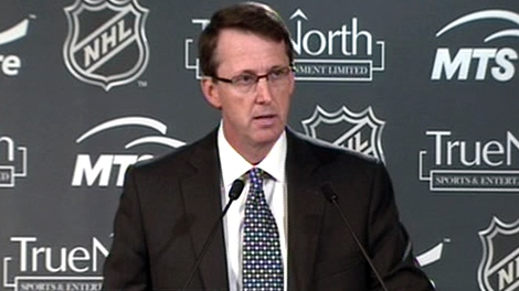 Mark Chipman, chairman True North Sports and Entertainment Ltd., speaks during a press conference in Winnipeg, Tuesday, May 31, 2011.