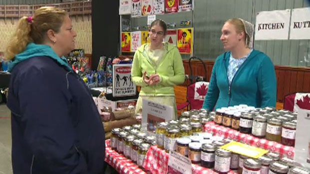 Kitchen Kuttings, one of the businesses affected by the fire at the St. Jacobs Farmers' Market, is ready for business at the Cambridge Fall Fair. -- Sept. 7, 2013