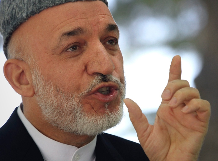 Afghan President Hamid Karzai speaks during a press conference at the presidential palace in Kabul, Afghanistan on Tuesday, May 31, 2011. (AP / Musadeq Sadeq)