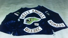 A photograph of Maurice Mom Boucher's vest was submitted as evidence, Wednesday March 27, 2002, in the trial of the Quebec biker. Boucher, leader of the Hells Angels in Quebec, faces two counts of first-degree murder and one count of attempted murder for allegedly ordering the deaths of two prison guards in 1997. (CP PHOTO)