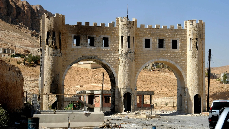 The entrance of Maaloula village is shown, northeast of the capital Damascus, Syria, Saturday, Sept. 7, 2013. (SANA)