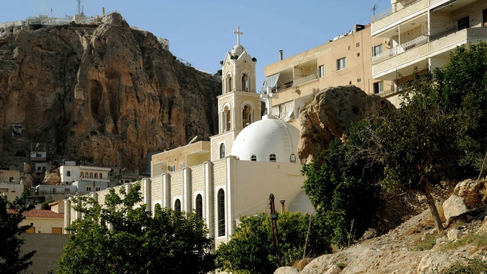 A church is shown in Maaloula village, northeast of the capital Damascus, Syria, Saturday, Sept. 7, 2013. (SANA)