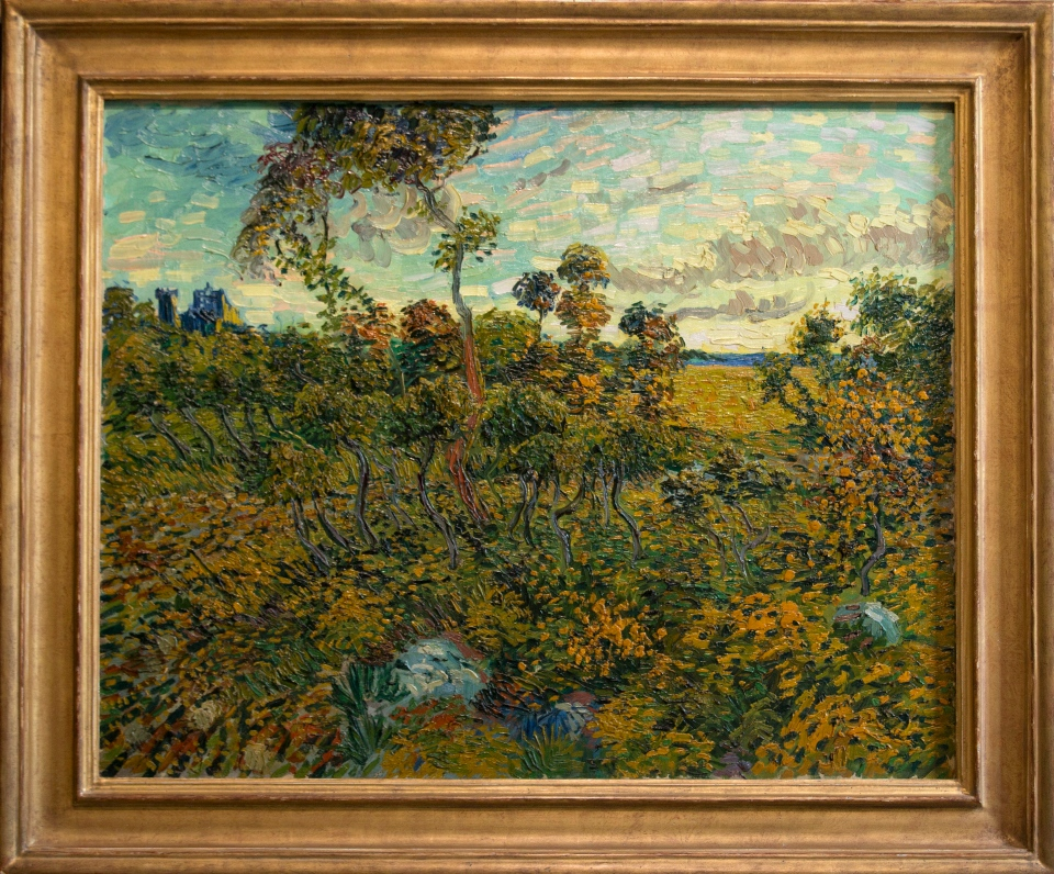 'Sunset at Montmajour' by Dutch painter Vincent van Gogh is seen during a press conference at the Van Gogh Museum in Amsterdam, Netherlands, Monday Sept. 9, 2013. (AP / Peter Dejong)