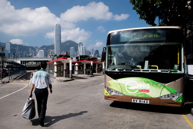 An electric bus in Hong Kong on September 9, 2013.