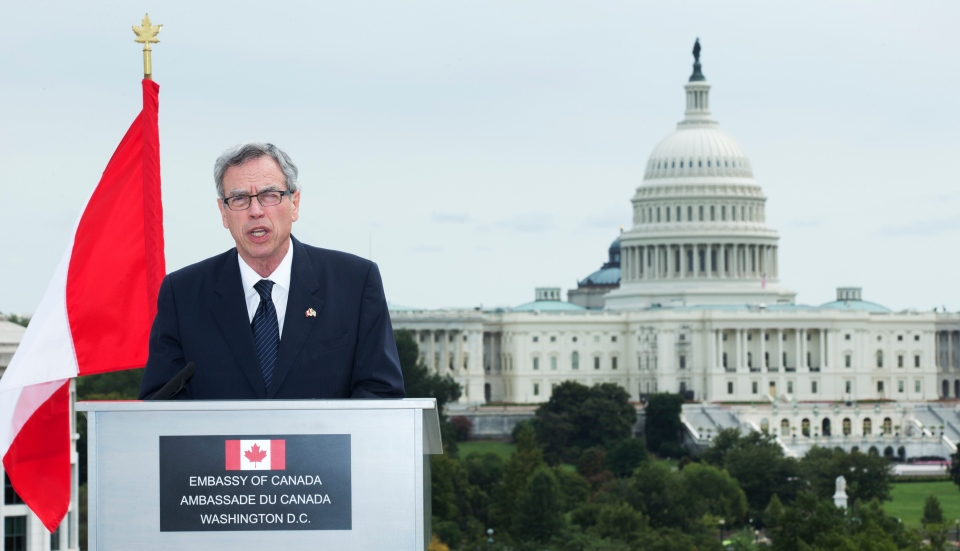 Natural Resources Joe Oliver speaks to reporters during a news conference at the Canadian embassy in Washington, Monday, Sept. 9, 2013. (AP / Manuel Balce Ceneta)