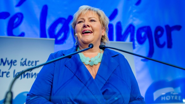 Norway's main opposition leader Erna Solberg of the Conservative Party speaks to party members in Oslo, Monday Sept. 9, 2013. (Stian Lysberg Solum, NTB Scanpix)