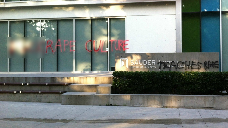 Graffiti reading 'F--- rape culture' and 'Sauder teaches rape' was left on the University of British Columbia campus in response to a disturbing chant led by student leaders last week.