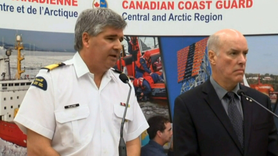 Canadian Coast Guard Assistant Commissioner Mario Pelletier and Arctic Net Scientific Director Louis Fortier speak at press conference in Quebec City, Tuesday, Sept. 10, 2013.
