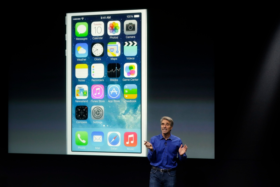 Craig Federighi, senior vice president of Software Engineering at Apple, speaks about the new iOS 7 release in Cupertino, Calif., Tuesday, Sept. 10, 2013. (AP / Marcio Jose Sanchez)