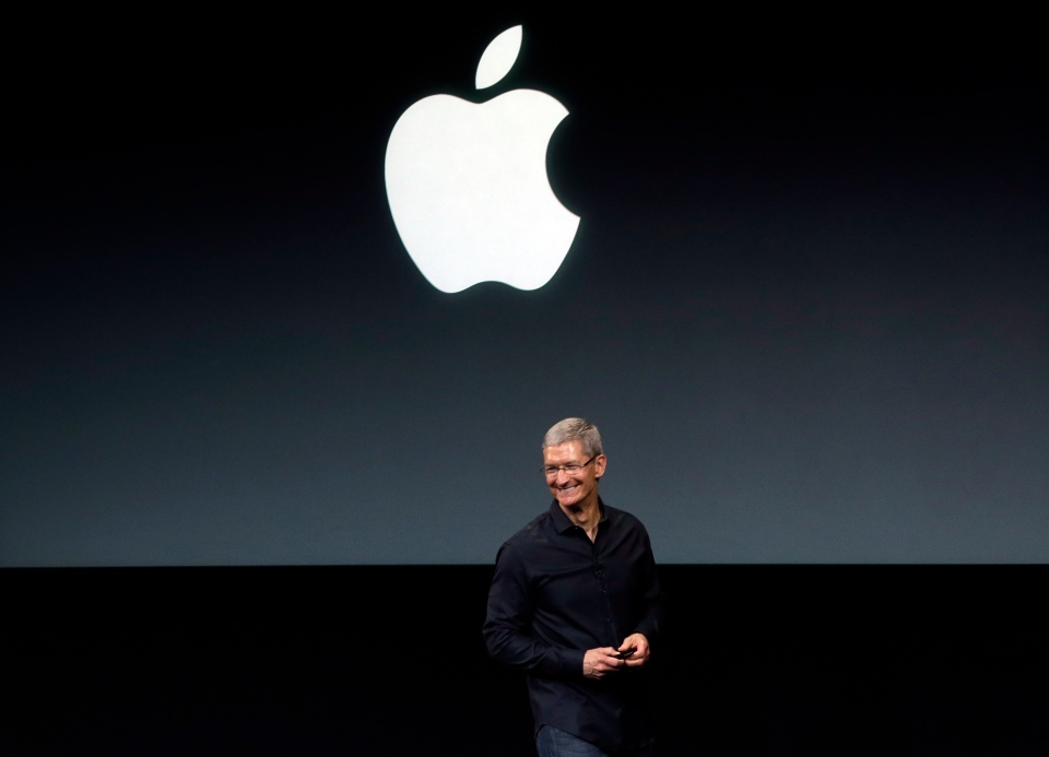 Apple CEO Tim Cook speaks on stage before a new product introduction in Cupertino, Calif., Tuesday, Sept. 10, 2013. (AP / Marcio Jose Sanchez)