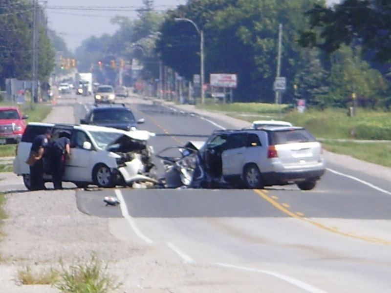 Chatham-Kent police are investigating a serious crash on Dufferin Avenue in Wallaceburg, Ont., on Tuesday, Sept. 10. (Submitted by Jim Polyak)