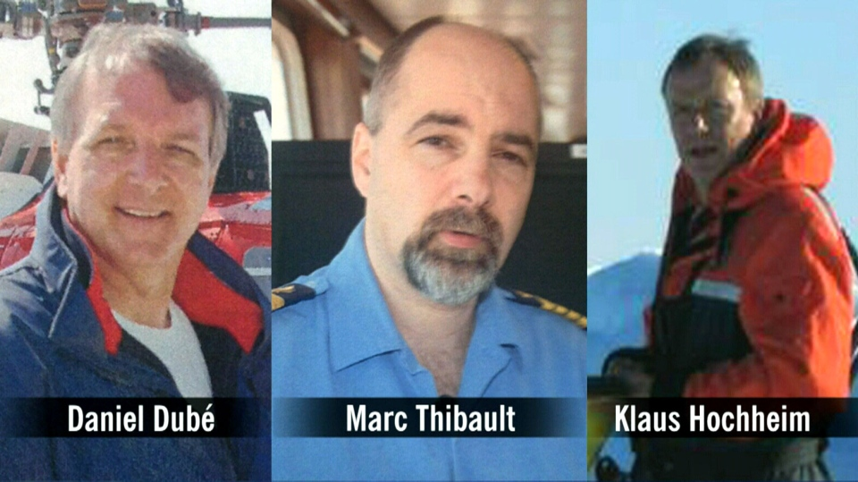 The three men killed in the Arctic helicopter crash are seen in this composite photo.