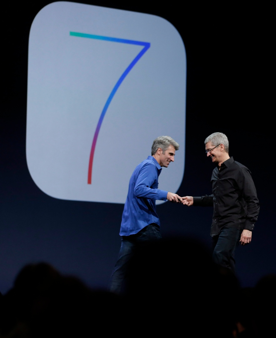 Craig Federighi, senior vice president of software engineering at Apple, left, greets Apple CEO Tim Cook after the introduction of iOS 7 during the keynote address of the Apple Worldwide Developers Conference, Monday, June 10, 2013, in San Francisco. (AP Photo/Eric Risberg)