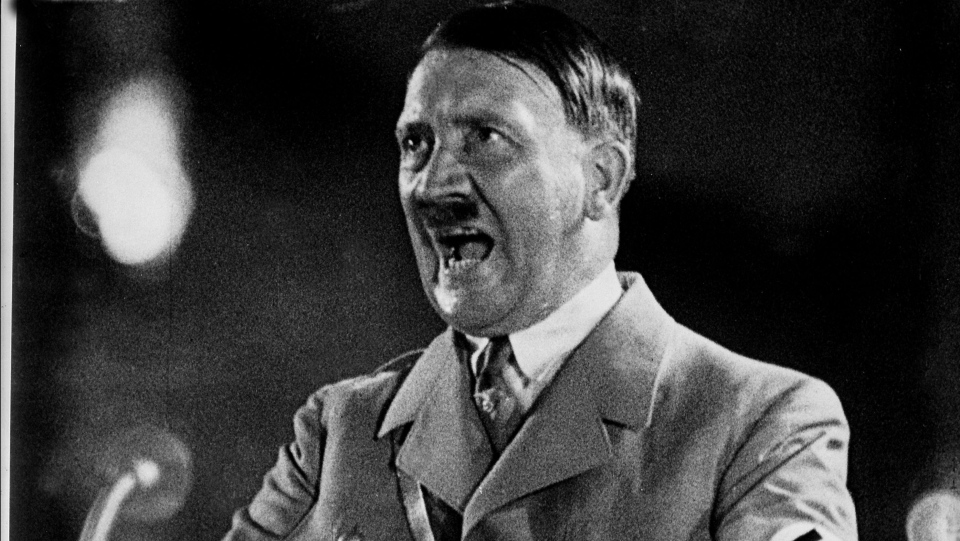 "Adolf Hitler during a speech, scene used in the NFB Film ""War for Men's Minds,"" 1943. (National Archives of Canada)"