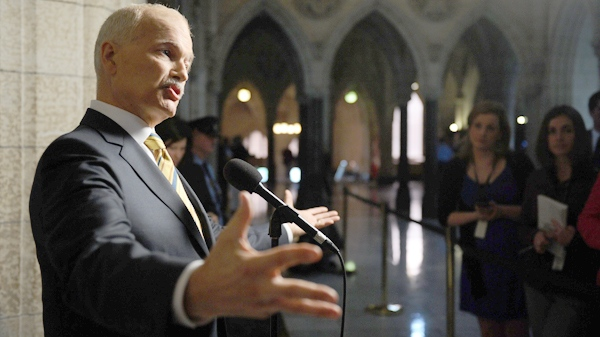 New Democratic Party leader Jack Layton speaks to reporters following a caucus meeting on Parliament Hill in Ottawa on Thursday, June 2, 2011. (Sean Kilpatrick / THE CANADIAN PRESS)