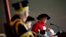 Actor William Shatner addresses  the assembly receiving an honourary degree from McGill University, his alma mater, Thursday, June 2, 2011 in Montreal. (Paul Chiasson / THE CANADIAN PRESS)