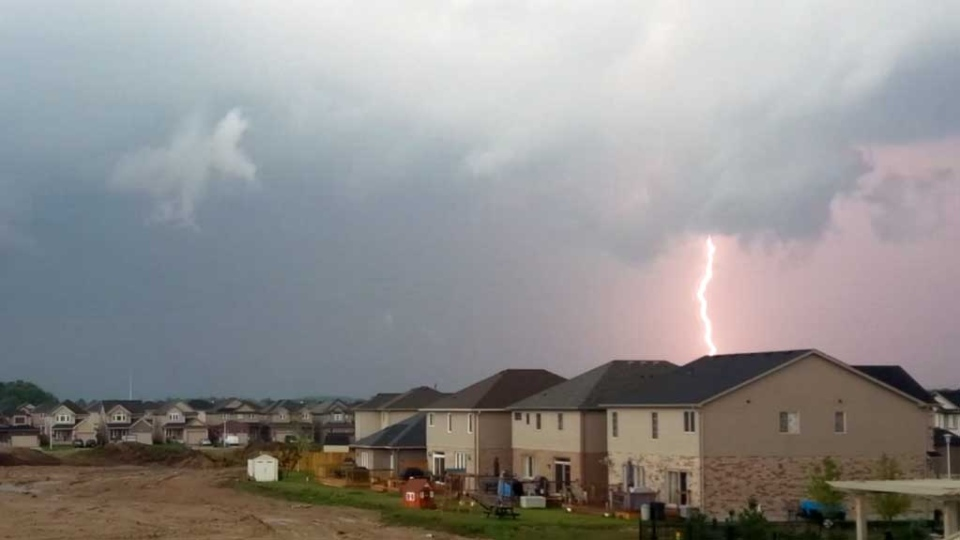 Lightning is seen in northwest London, Ont. on Wednesday, Sept. 11, 2013. (Josh Morgan / Twitter)