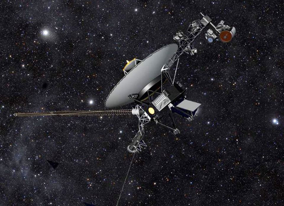 This artist's rendering released by NASA shows NASA's Voyager 1 spacecraft barreling through space.