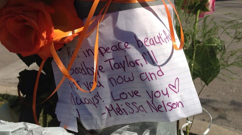 Mourners left notes at memorial for Taylor Penner on Sept. 12, 2013.
