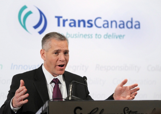 Russ Girling, president & CEO for TransCanada, speaks after the company's annual meeting in Calgary, Alberta on Friday, April 26, 2013. (Larry MacDougal / THE CANADIAN PRESS)