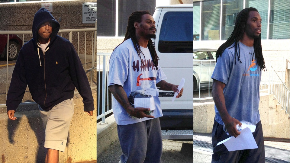 In this combination photo, Saskatchewan Roughriders Eron Riley (left), Dwight Anderson and Taj Smith are seen leaving the Regina provincial courthouse following their release Thursday, Sept. 12, 2013. (Jennifer Graham / THE CANADIAN PRESS)