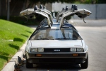 This Sept. 10, 2013 photo shows DeLorean cars parked outside The DeLorean Motor Company in Huntington Beach, Calif. (AP / Orange County Register, Paul Bersebach)