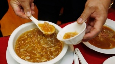 A bowl of shark fin soup is being served at a Chinese restaurant in San Francisco's Chinatown in this 2011 file photo. (AP / Paul Sakuma)